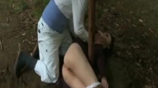 Japanese Wife Tied to Tree and Hard Fucked