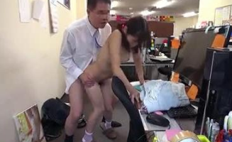 Japanese Teen Fucked by Old Boss in Office